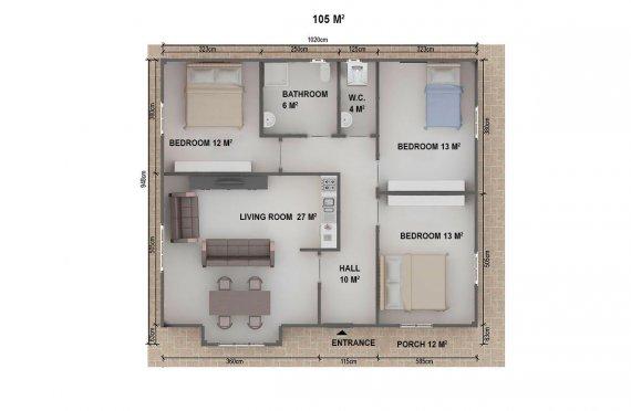 Dom z prefabrykatów 105 m²