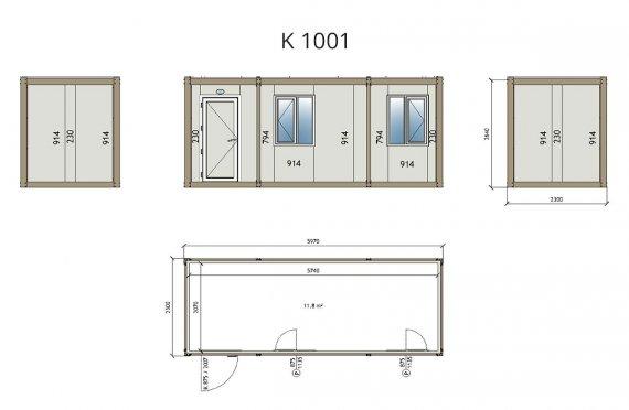 Biurowy kontener typu flat pack K1001