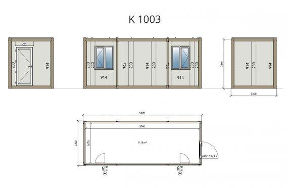 Kontener biurowy typu Flat Pack K1003