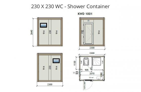 KW2 230X230 kontener WC z prysznicem