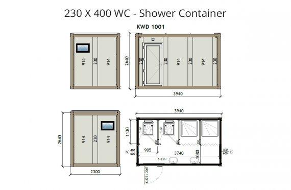 KW4 230x400 Kontener WC z prysznicem