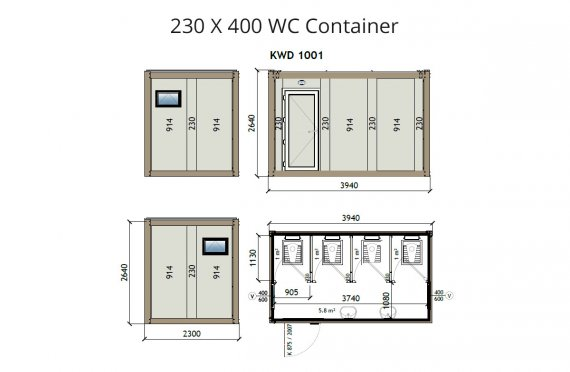 KW4 230x400 Kontener WC