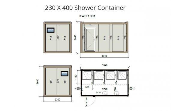 KW4 230X400 kontener prysznicowy