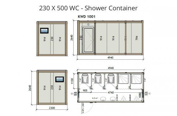 KW6 230x500 Kontener WC z prysznicem