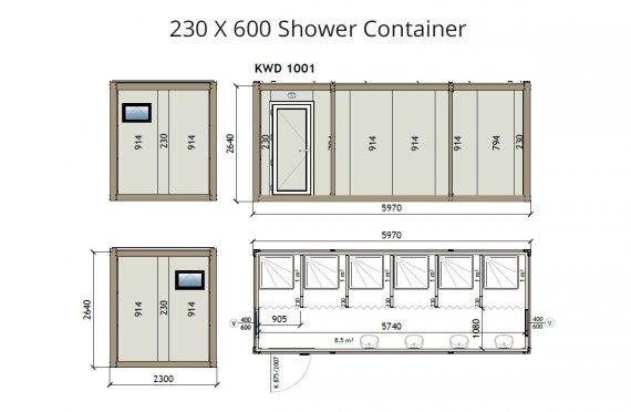 KW6 230x600 Kontener prysznicowy