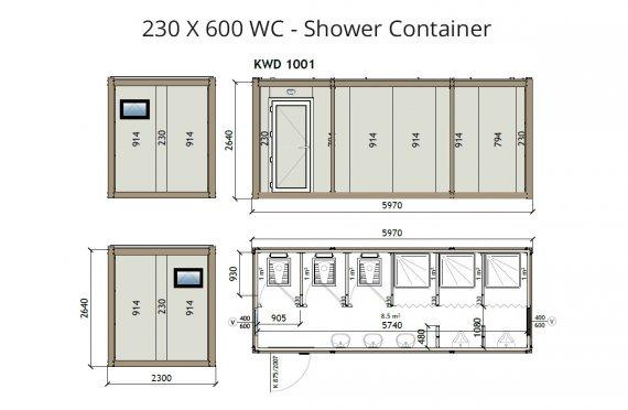 KW6 230x600 Kontener WC z prysznicem
