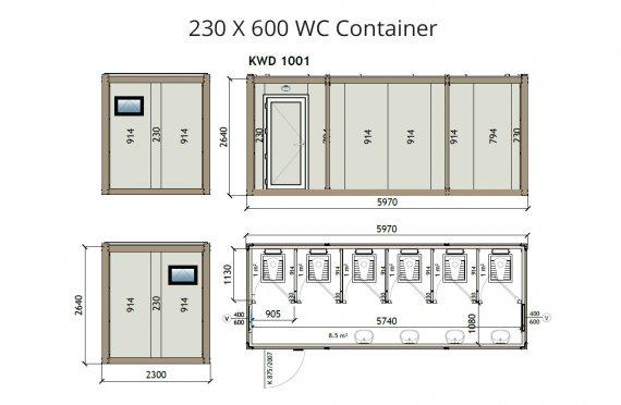 KW6 230X600 Kontener WC