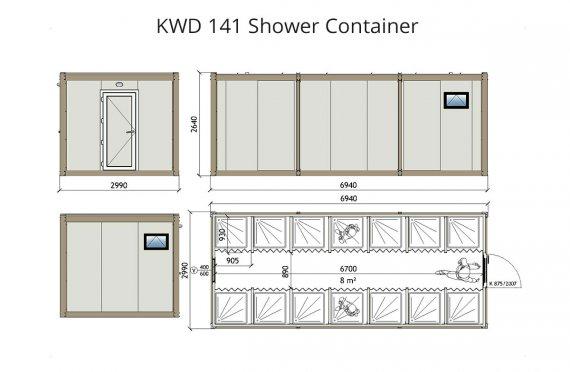 KWD 141 Kontener prysznicowy