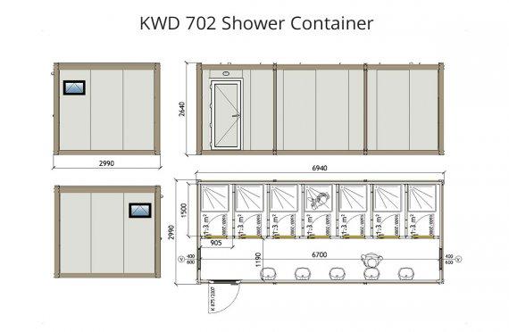 KWD 702 Kontener prysznicowy