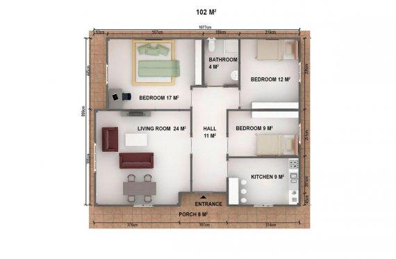 Dom z prefabrykatów 102  m²