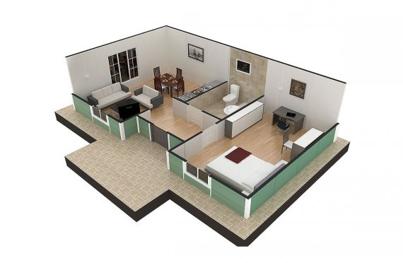 Dom z prefabrykatów 51 m²