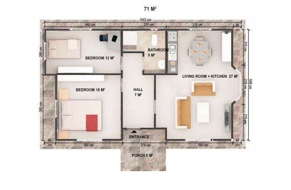 Dom z prefabrykatów 71 m²