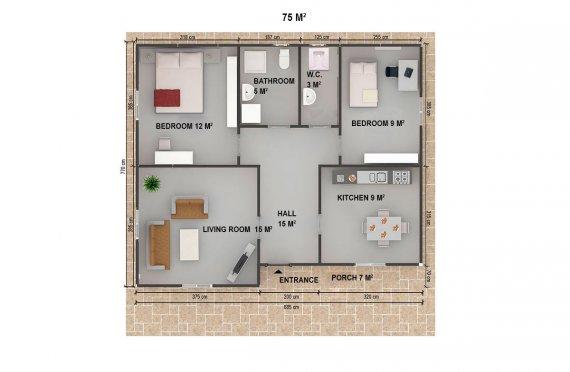 Dom z prefabrykatów 75 m²
