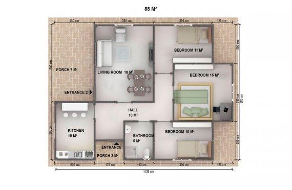Dom z prefabrykatów 88  m²
