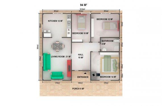 Dom z prefabrykatów 94  m²