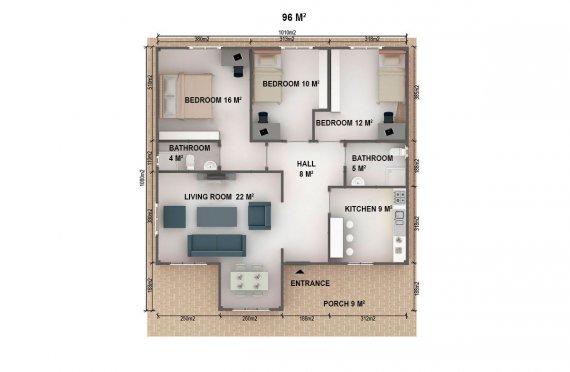 Dom z prefabrykatów 96  m²