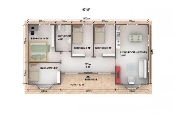 Dom z prefabrykatów 97  m²